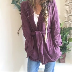 Lucky Brand Wrap Front Maroon Cardigan